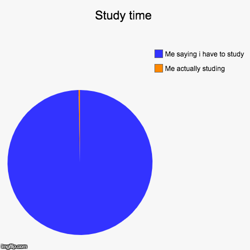 Study time | Me actually studing, Me saying i have to study | image tagged in funny,pie charts | made w/ Imgflip pie chart maker