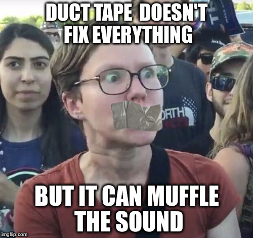 Tape your nuts | DUCT TAPE  DOESN'T FIX EVERYTHING BUT IT CAN MUFFLE THE SOUND | image tagged in muffled | made w/ Imgflip meme maker