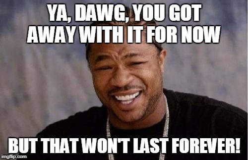 Yo Dawg Heard You Meme | YA, DAWG, YOU GOT AWAY WITH IT FOR NOW BUT THAT WON'T LAST FOREVER! | image tagged in memes,yo dawg heard you | made w/ Imgflip meme maker