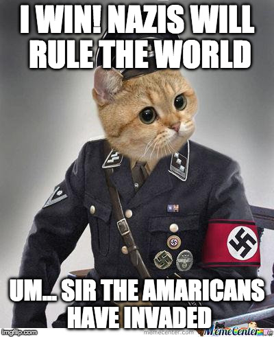 I WIN! NAZIS WILL RULE THE WORLD UM... SIR THE AMARICANS HAVE INVADED | image tagged in nazi cat | made w/ Imgflip meme maker
