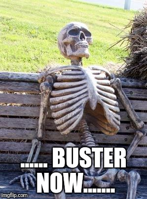 Waiting Skeleton Meme | ...... BUSTER NOW....... | image tagged in memes,waiting skeleton | made w/ Imgflip meme maker