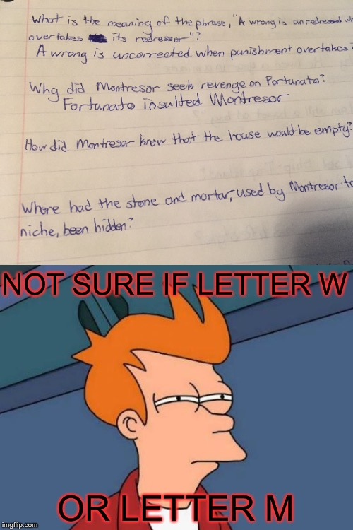I was just studying when I realized I did that | NOT SURE IF LETTER W OR LETTER M | image tagged in futurama fry,studying,the cask of amontillado,edgar allan poe | made w/ Imgflip meme maker