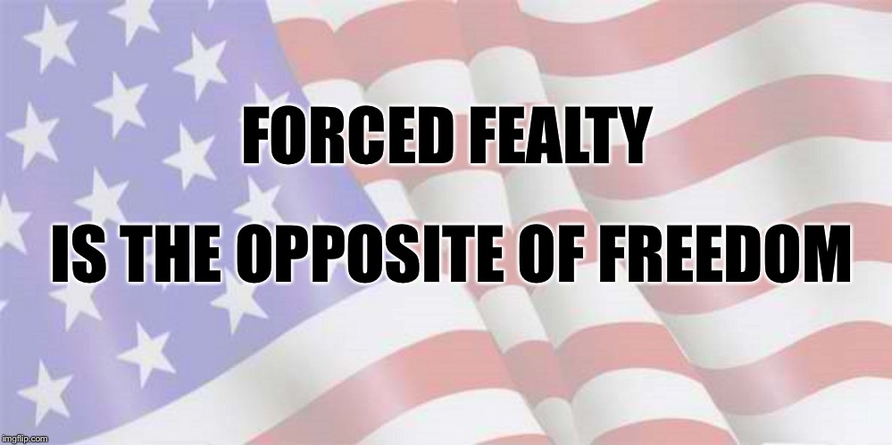 Faded American Flag | FORCED FEALTY IS THE OPPOSITE OF FREEDOM | image tagged in faded american flag | made w/ Imgflip meme maker