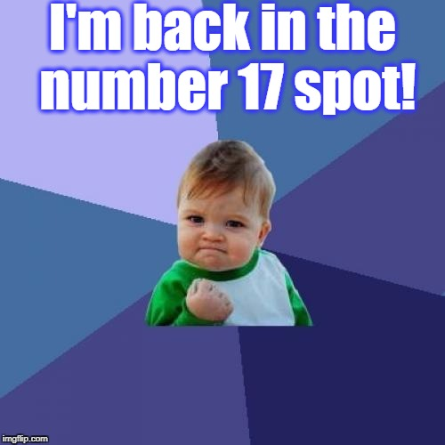 Success Kid Meme | I'm back in the number 17 spot! | image tagged in memes,success kid | made w/ Imgflip meme maker
