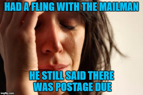 First World Problems Meme | HAD A FLING WITH THE MAILMAN HE STILL SAID THERE WAS POSTAGE DUE | image tagged in memes,first world problems | made w/ Imgflip meme maker