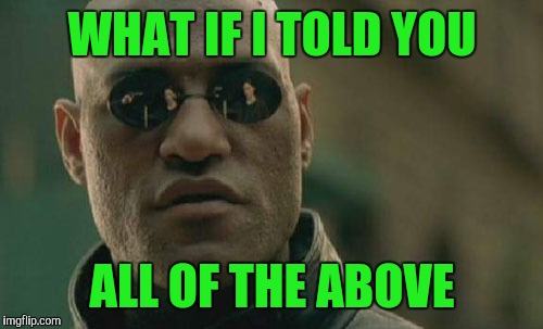 Matrix Morpheus Meme | WHAT IF I TOLD YOU ALL OF THE ABOVE | image tagged in memes,matrix morpheus | made w/ Imgflip meme maker