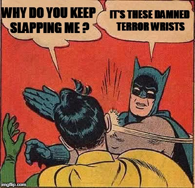 Batman Slapping Robin Meme | WHY DO YOU KEEP SLAPPING ME ? IT'S THESE DAMNED TERROR WRISTS | image tagged in memes,batman slapping robin | made w/ Imgflip meme maker