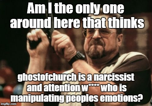 Am I The Only One Around Here Meme | Am I the only one around here that thinks ghostofchurch is a narcissist and attention w**** who is manipulating peoples emotions? | image tagged in memes,am i the only one around here | made w/ Imgflip meme maker