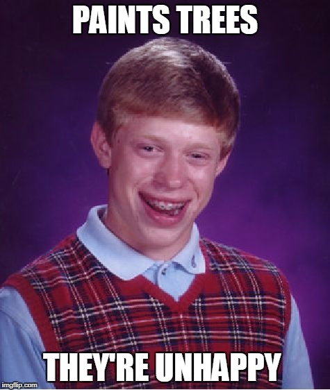 Bad Luck Brian Meme | PAINTS TREES THEY'RE UNHAPPY | image tagged in memes,bad luck brian | made w/ Imgflip meme maker