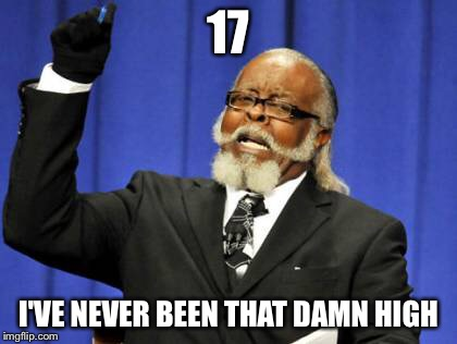 Too Damn High Meme | 17 I'VE NEVER BEEN THAT DAMN HIGH | image tagged in memes,too damn high | made w/ Imgflip meme maker