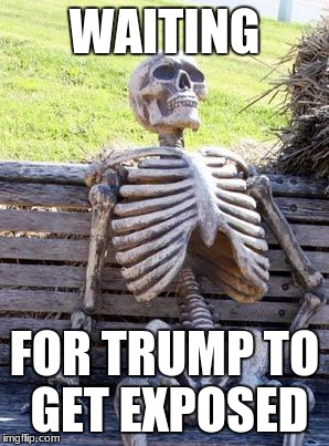 Hurry up, CNN! | WAITING FOR TRUMP TO GET EXPOSED | image tagged in memes,waiting skeleton | made w/ Imgflip meme maker