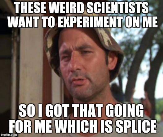 so i got that going for me which is nice | THESE WEIRD SCIENTISTS WANT TO EXPERIMENT ON ME SO I GOT THAT GOING FOR ME WHICH IS SPLICE | image tagged in so i got that going for me which is nice,memes,funny,cats,gifs,mlp | made w/ Imgflip meme maker