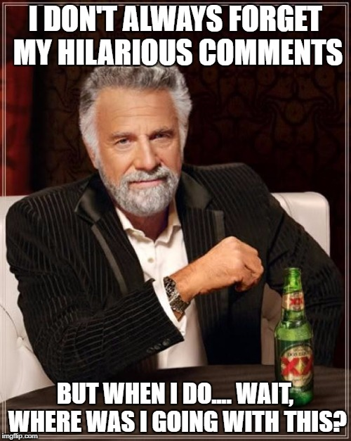 The Most Interesting Man In The World Meme | I DON'T ALWAYS FORGET MY HILARIOUS COMMENTS BUT WHEN I DO.... WAIT, WHERE WAS I GOING WITH THIS? | image tagged in memes,the most interesting man in the world | made w/ Imgflip meme maker
