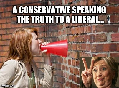 Speaking Truth to Liberals is Like Speaking to a Brick Wall | A CONSERVATIVE SPEAKING THE TRUTH TO A LIBERAL... | image tagged in memes,political meme,hillary clinton,liberal logic,brick wall | made w/ Imgflip meme maker