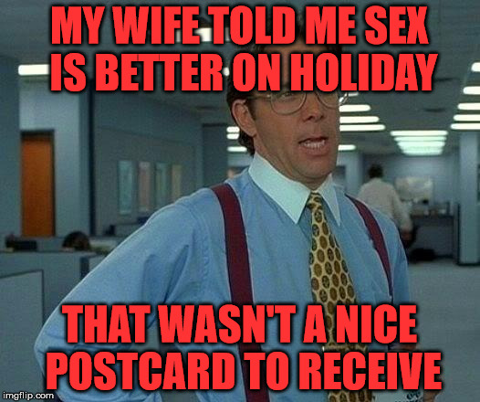 Sex is better on holiday | MY WIFE TOLD ME SEX IS BETTER ON HOLIDAY THAT WASN'T A NICE POSTCARD TO RECEIVE | image tagged in memes,that would be great,postcard,holiday | made w/ Imgflip meme maker