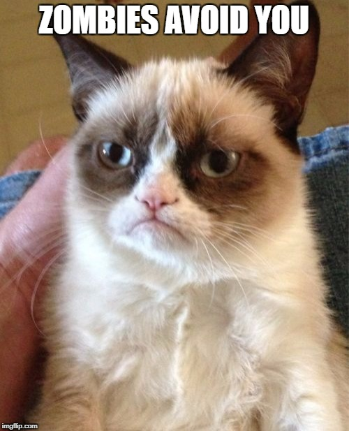 Grumpy Cat Meme | ZOMBIES AVOID YOU | image tagged in memes,grumpy cat | made w/ Imgflip meme maker