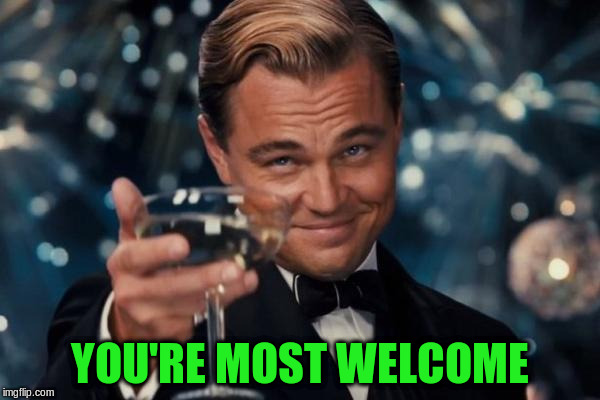 Leonardo Dicaprio Cheers Meme | YOU'RE MOST WELCOME | image tagged in memes,leonardo dicaprio cheers | made w/ Imgflip meme maker