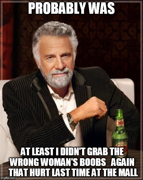 The Most Interesting Man In The World Meme | PROBABLY WAS AT LEAST I DIDN'T GRAB THE WRONG WOMAN'S BOOBS   AGAIN   THAT HURT LAST TIME AT THE MALL | image tagged in memes,the most interesting man in the world | made w/ Imgflip meme maker