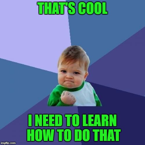 Success Kid Meme | THAT'S COOL I NEED TO LEARN HOW TO DO THAT | image tagged in memes,success kid | made w/ Imgflip meme maker