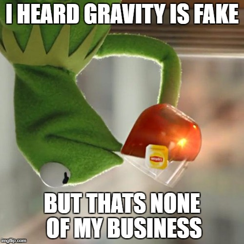 But Thats None Of My Business Meme | I HEARD GRAVITY IS FAKE BUT THATS NONE OF MY BUSINESS | image tagged in memes,but thats none of my business,kermit the frog | made w/ Imgflip meme maker