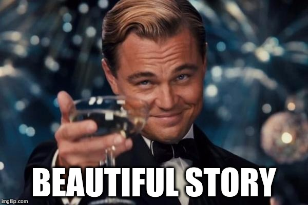 Leonardo Dicaprio Cheers Meme | BEAUTIFUL STORY | image tagged in memes,leonardo dicaprio cheers | made w/ Imgflip meme maker