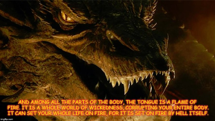 Words of Advice or Damnation | AND AMONG ALL THE PARTS OF THE BODY, THE TONGUE IS A FLAME OF FIRE. IT IS A WHOLE WORLD OF WICKEDNESS, CORRUPTING YOUR ENTIRE BODY. IT CAN S | image tagged in red dragon,john3vrs6 | made w/ Imgflip meme maker