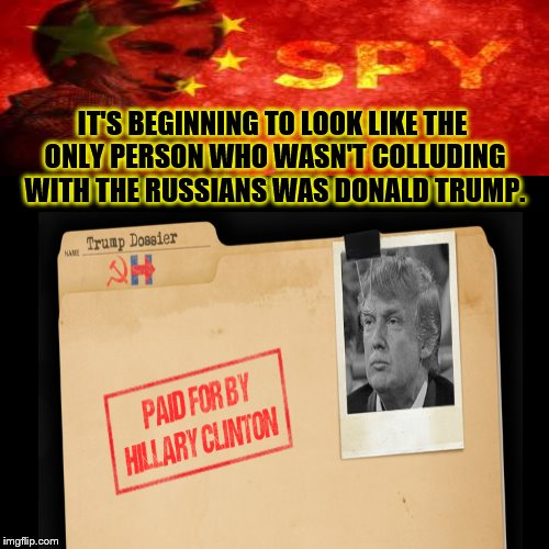 IT'S BEGINNING TO LOOK LIKE THE ONLY PERSON WHO WASN'T COLLUDING WITH THE RUSSIANS WAS DONALD TRUMP. | image tagged in donald trump,hillary clinton | made w/ Imgflip meme maker