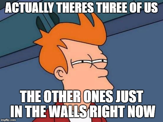 ACTUALLY THERES THREE OF US THE OTHER ONES JUST IN THE WALLS RIGHT NOW | image tagged in memes,futurama fry | made w/ Imgflip meme maker