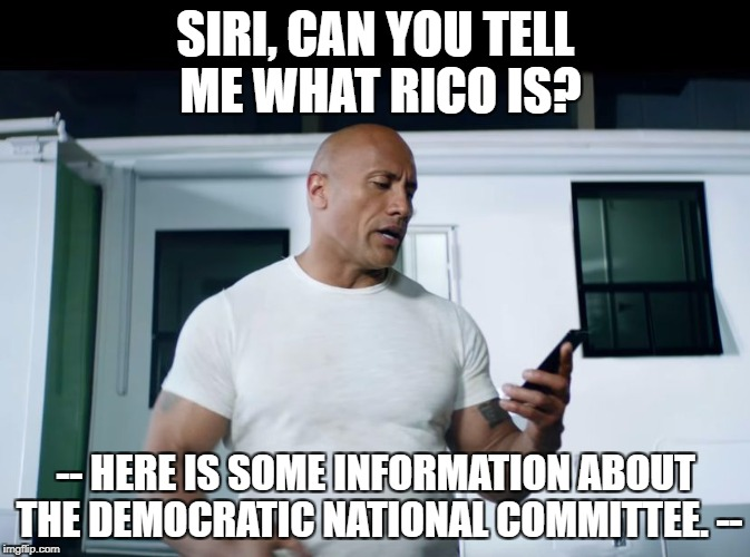 So THAT's what it means... | SIRI, CAN YOU TELL ME WHAT RICO IS? -- HERE IS SOME INFORMATION ABOUT THE DEMOCRATIC NATIONAL COMMITTEE. -- | image tagged in the rock  siri | made w/ Imgflip meme maker