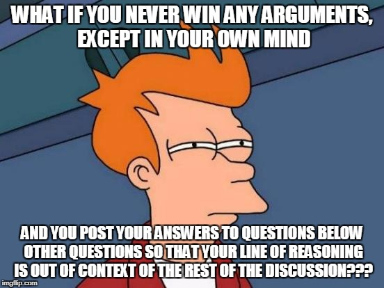 Futurama Fry Meme | WHAT IF YOU NEVER WIN ANY ARGUMENTS, EXCEPT IN YOUR OWN MIND AND YOU POST YOUR ANSWERS TO QUESTIONS BELOW OTHER QUESTIONS SO THAT YOUR LINE  | image tagged in memes,futurama fry | made w/ Imgflip meme maker