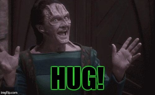 HUG! :D | HUG! | image tagged in funny,memes,star trek,hamsters made of fire save the universe,television,humor | made w/ Imgflip meme maker