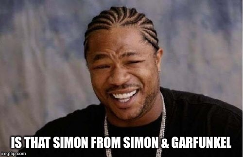 Yo Dawg Heard You Meme | IS THAT SIMON FROM SIMON & GARFUNKEL | image tagged in memes,yo dawg heard you | made w/ Imgflip meme maker