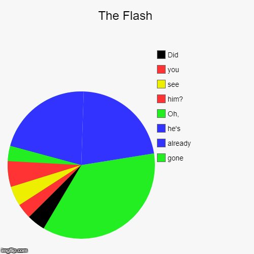 The Flash | gone, already, he's, Oh,, him?, see, you, Did | image tagged in funny,pie charts | made w/ Imgflip pie chart maker