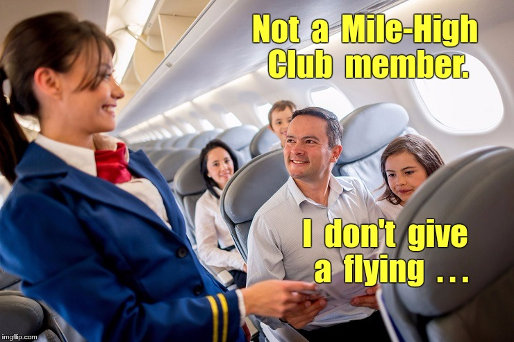Not a Mile-High Club member | Not  a  Mile-High   Club  member. I  don't  give  a  flying  . . . | image tagged in stewardess with family on plane,stewardessw,airplanes,memes,nsfw | made w/ Imgflip meme maker