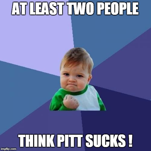 Success Kid Meme | AT LEAST TWO PEOPLE THINK PITT SUCKS ! | image tagged in memes,success kid | made w/ Imgflip meme maker