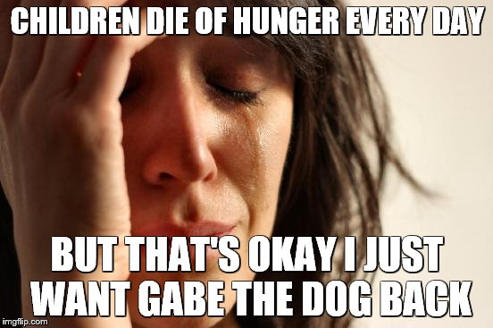 First World Problems Meme | CHILDREN DIE OF HUNGER EVERY DAY BUT THAT'S OKAY I JUST WANT GABE THE DOG BACK | image tagged in memes,first world problems | made w/ Imgflip meme maker