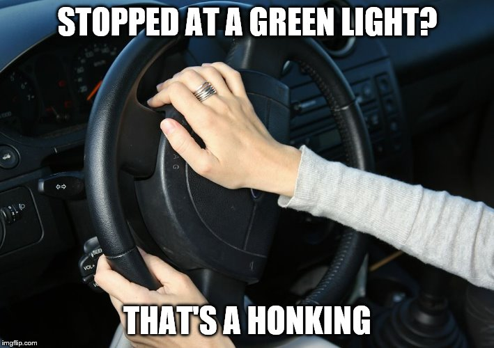 STOPPED AT A GREEN LIGHT? THAT'S A HONKING | made w/ Imgflip meme maker