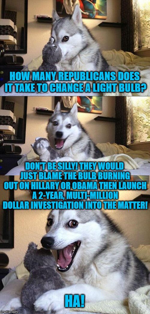 The GOP...blaming others for crap since...well always! | HOW MANY REPUBLICANS DOES IT TAKE TO CHANGE A LIGHT BULB? DON'T BE SILLY! THEY WOULD JUST BLAME THE BULB BURNING OUT ON HILLARY OR OBAMA THE | image tagged in memes,bad pun dog,republicans,blame,hillary,obama | made w/ Imgflip meme maker