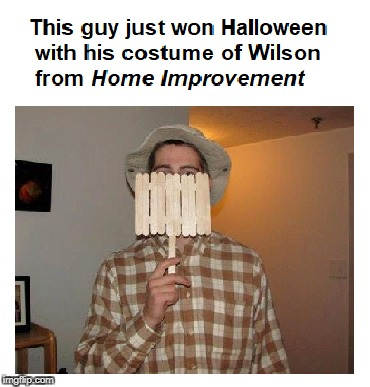 If nothing else, points for creativity | image tagged in halloween,home improvement,costume,tim allen,wilson | made w/ Imgflip meme maker
