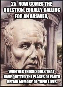Afterlife | 25. NOW COMES THE QUESTION, EQUALLY CALLING FOR AN ANSWER, WHETHER THOSE SOULS THAT HAVE QUITTED THE PLACES OF EARTH RETAIN MEMORY OF THEIR  | image tagged in god,jesus,holyspirit,philosophy,heaven,hell | made w/ Imgflip meme maker
