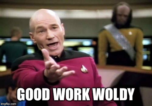 Picard Wtf Meme | GOOD WORK WOLDY | image tagged in memes,picard wtf | made w/ Imgflip meme maker
