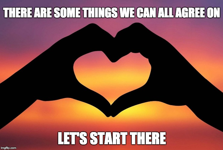 Love | THERE ARE SOME THINGS WE CAN ALL AGREE ON LET'S START THERE | image tagged in friends,family,health,faith,compromise,compassion | made w/ Imgflip meme maker