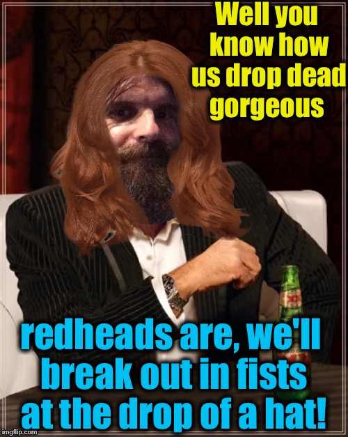 Well you know how us drop dead gorgeous redheads are, we'll break out in fists at the drop of a hat! | made w/ Imgflip meme maker