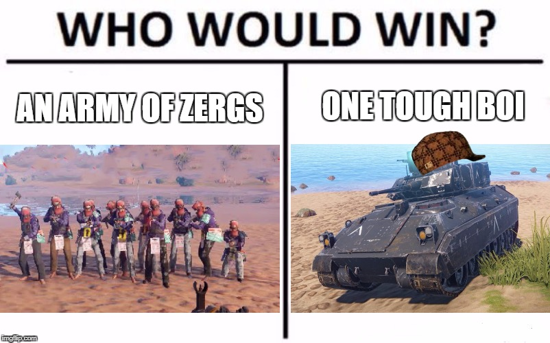Who Would Win? Meme | ONE TOUGH BOI AN ARMY OF ZERGS | image tagged in who would win,scumbag | made w/ Imgflip meme maker