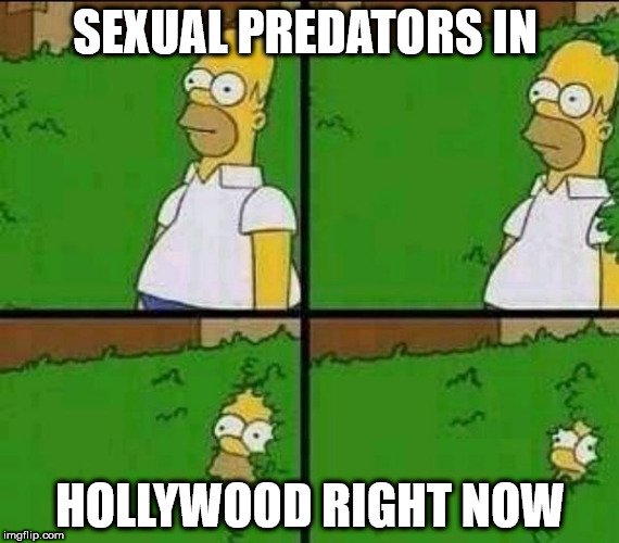 Homer bush | SEXUAL PREDATORS IN HOLLYWOOD RIGHT NOW | image tagged in homer bush | made w/ Imgflip meme maker