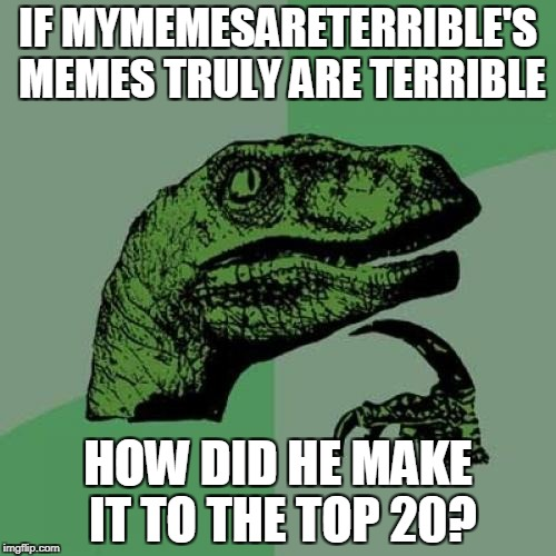 How indeed? | IF MYMEMESARETERRIBLE'S MEMES TRULY ARE TERRIBLE HOW DID HE MAKE IT TO THE TOP 20? | image tagged in memes,philosoraptor,powermetalhead,mymemesareterrible,imgflip,top 100 | made w/ Imgflip meme maker