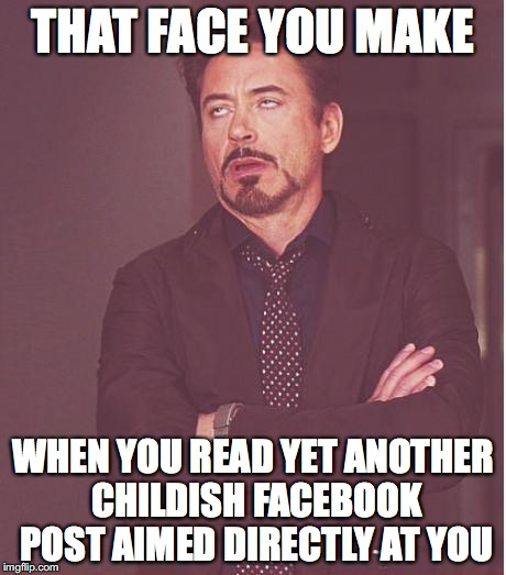 That face you make | THAT FACE YOU MAKE WHEN YOU READ YET ANOTHER CHILDISH FACEBOOK POST AIMED DIRECTLY AT YOU | image tagged in that face you make | made w/ Imgflip meme maker