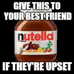 GIVE THIS TO YOUR BEST FRIEND IF THEY'RE UPSET | image tagged in nutella,memes,funny,best friends | made w/ Imgflip meme maker