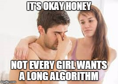 IT'S OKAY HONEY NOT EVERY GIRL WANTS A LONG ALGORITHM | made w/ Imgflip meme maker