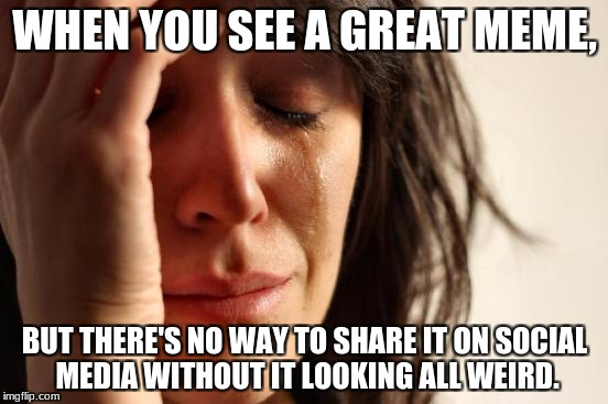 First World Problems Meme | WHEN YOU SEE A GREAT MEME, BUT THERE'S NO WAY TO SHARE IT ON SOCIAL MEDIA WITHOUT IT LOOKING ALL WEIRD. | image tagged in memes,first world problems | made w/ Imgflip meme maker